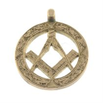 An Edwardian 9ct gold Masonic fob pendant.