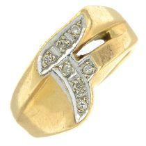 A single-cut diamond initial 'F' ring.