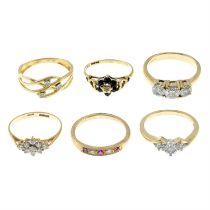 Six mostly 9ct gold gem-set rings.