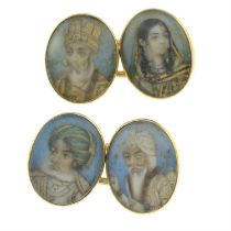 A pair of late Victorian gold cufflinks, painted to depict portrait miniatures of Shah Jahan,