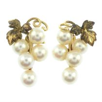 A pair of cultured pearl grape earrings, by Mikimoto.