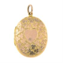 An early 20th century 9ct gold locket, with foliate motif.