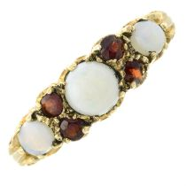 A 9ct gold opal and garnet dress ring.