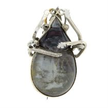 A late 19th century rock crystal beetle brooch.