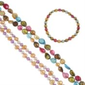 Five cultured pearl necklaces and two bracelets.