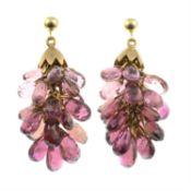 A pair of tourmaline drop earrings.