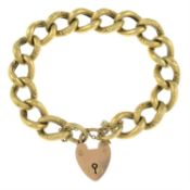 A mid 20th century 9ct gold bracelet with heart-shape padlock clasp.