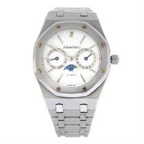 AUDEMARS PIGUET - a stainless steel Royal Oak Day-Date bracelet watch, 36mm.