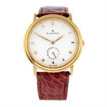 BLANCPAIN - an 18ct yellow gold Villeret wrist watch, 33mm.