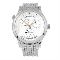 JAEGER-LECOULTRE - a stainless steel Master Geographic bracelet watch, 38mm.