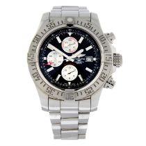 BREITLING - a stainless steel Super Avenger chronograph bracelet watch, 48mm.