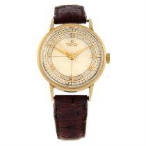 OMEGA - a yellow metal Chronometre wrist watch, 33mm.