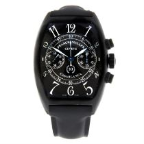 FRANCK MULLER - a PVD-coated stainless steel Casablanca wrist watch, 39x54 mm.