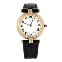 CARTIER - an 18ct gold tri-colour Vendome wrist watch, 25mm.
