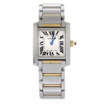 CARTIER - a bi-metal Tank Francaise bracelet watch, 20x18mm.