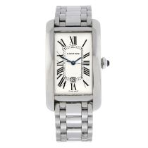 CARTIER - an 18ct white gold Tank Americaine XL bracelet watch, 26x44mm.