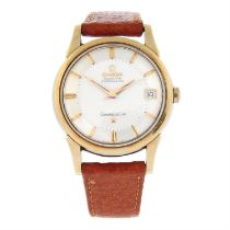 OMEGA - a gold plated Constellation 'Pie-Pan' wrist watch, 34mm.