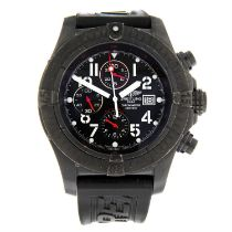 BREITLING - a PVD-coated stainless steel limited edition Super Avenger chronograph wrist watch,