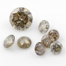 Selection of diamonds and black gemstones, weighing 14.74ct