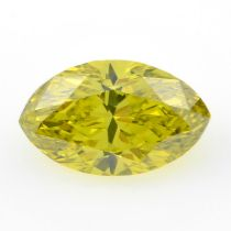 STUART DEVLIN STOCK - A marquise shape 'yellow' diamond, weighing 1.34ct