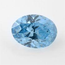 An oval shape HPHT treated 'blue' diamond, weighing 1ct