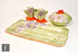 A 1930s Art Deco Myott part dressing table set decorated in pattern 8925, comprising a rectangular