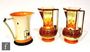 Three 1930s Art Deco Myott jugs comprising a pair of Square Neck in pattern 9698 and one Lemonade in