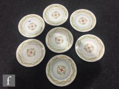 A Clarice Cliff Art in Industry Marine pattern sandwich set comprising six plates painted with