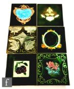 Six assorted early 20th Century Art Nouveau 6in dust pressed tiles, to include four T.A Simpson