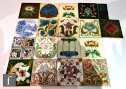 Twelve assorted early 20th Century 6in Art Nouveau dust pressed tiles each with a floral design,