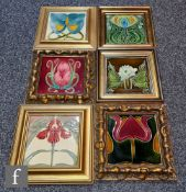 Six assorted late 19th to early 20th Century framed Art Nouveau 6in dust pressed tiles each with