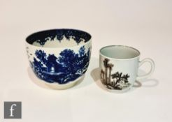 A late 18th Century Worcester Chinoserie coffee cup transfer decorated with a black and white