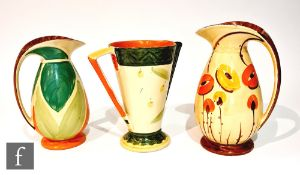 Three 1930s Art Deco Myott jugs comprising two Chicken Neck in pattern BGi and 9818 and one