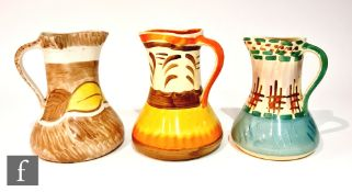 Three 1930s Art Deco Myott Pinch Neck jugs in patterns H8318, 8973 and 2654F, all with hand