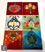 Six assorted early 20th Century and later 6in dust pressed tiles with floral decoration to include