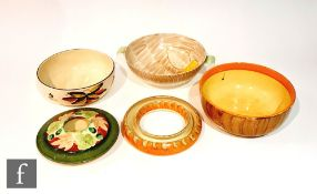 Five pieces of assorted 1930s Art Deco Myott comprising a twin handled bowl in pattern 2684, a fruit