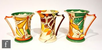 Three 1930s Art Deco Myott Lemonade jugs comprising two graduated in pattern 8708 with a hand