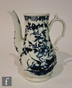 A late 18th Century Worcester coffee pot decorated in the blue and white Hollow Rock Lily pattern,