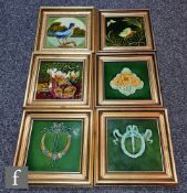 Six framed 6in dust pressed Art Nouveau tiles to include one T.R Boote decorated with a relief