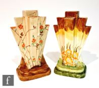 Two 1930s Art Deco Myott Pyramid (or Odeon) vases, the first decorated in pattern 8667, the second