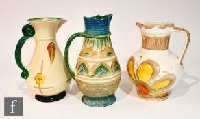 Three 1930s Art Deco Myott jugs comprising a Classical jug in pattern 2683F, a scroll handle jug