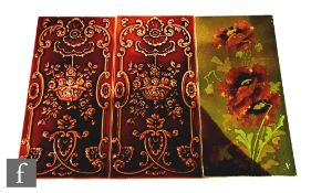 A 19th Century 12in x 6in dust pressed tile decorated with barbotine poppies against an olive