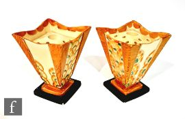 Two 1930s Art Deco Myott Square vases decorated in variants of pattern 8171 with stylised fan type