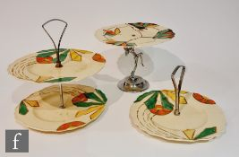 Three 1930s Art Deco Myott cake stands of varying form, the first in pattern 8915 with a chrome