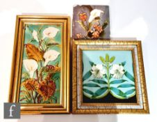 A 19th Century framed 8in Mintons Hollins & Co dust pressed tile decorated with a transfer and