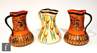 A pair of 1930s Art Deco Myott pinch jugs decorated in pattern 8387, the whole with brown painted