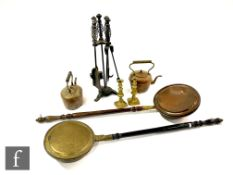 A 19th Century brass warming pan, a copper warming pan, two copper kettles, a pair of brass