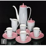 A post war Cmielow coffee set in grey with white dash lines and contrasting pink lids, comprising