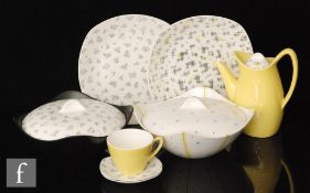 A collection of assorted 1950s Midwinter Fashion Shape dinner and tea wares designed by Jessie Tait,