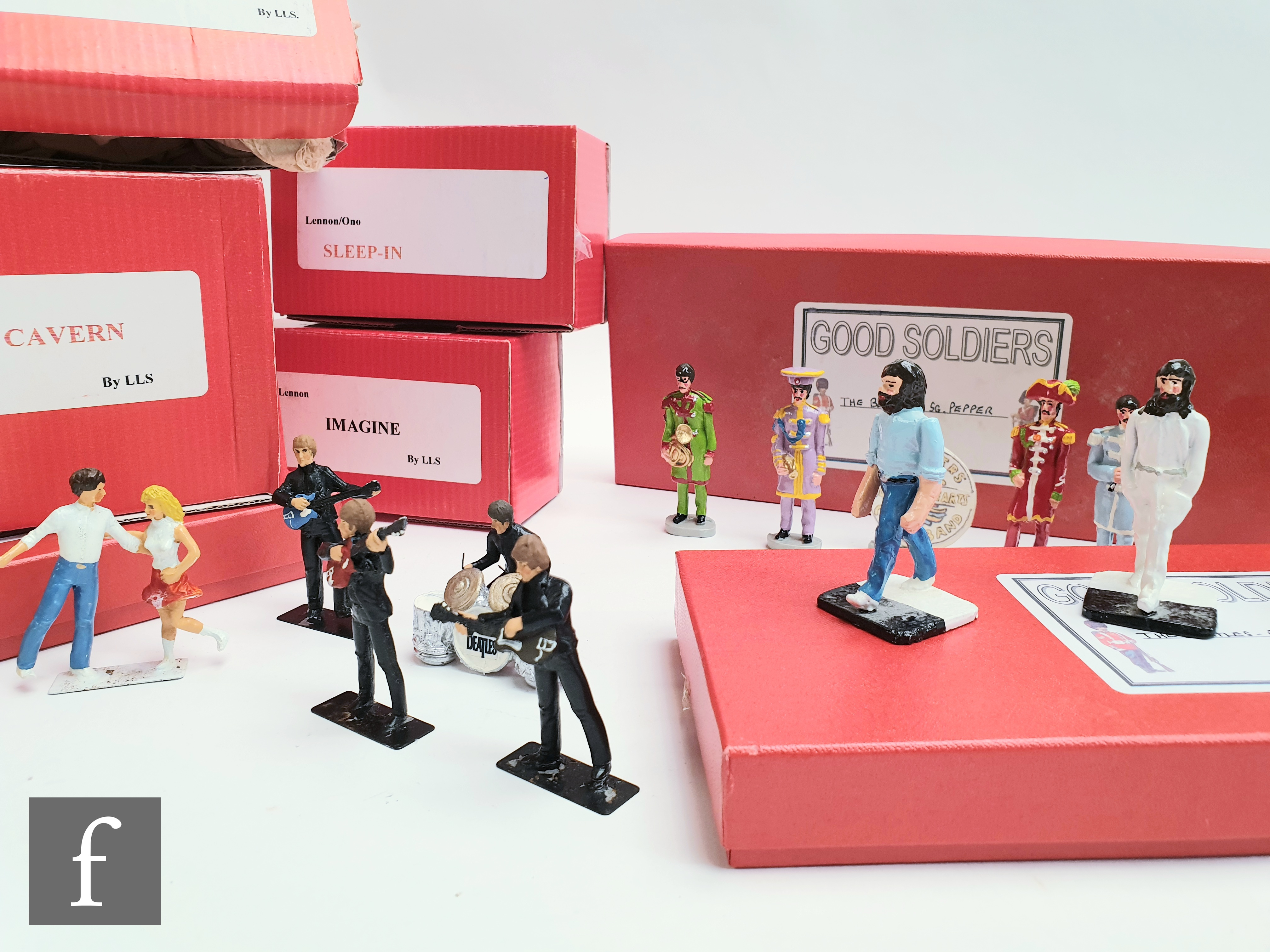 A collection of solid cast figures by Little Lead soldiers (LLS) Beatles boxed figures, to include